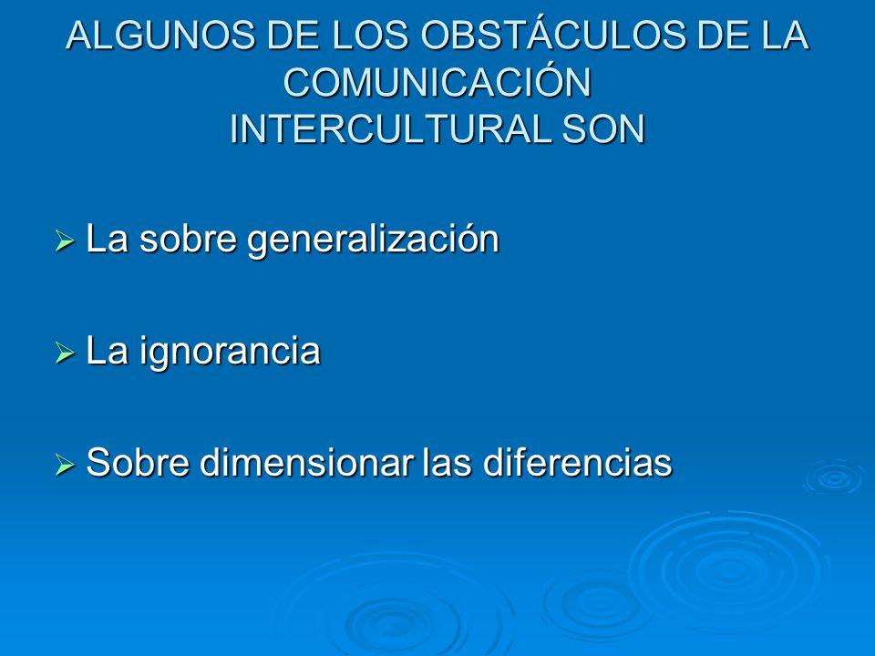 ALGUNOS DE LOS OBSTÁCULOS DE LA COMUNICACIÓN INTERCULTURAL SON