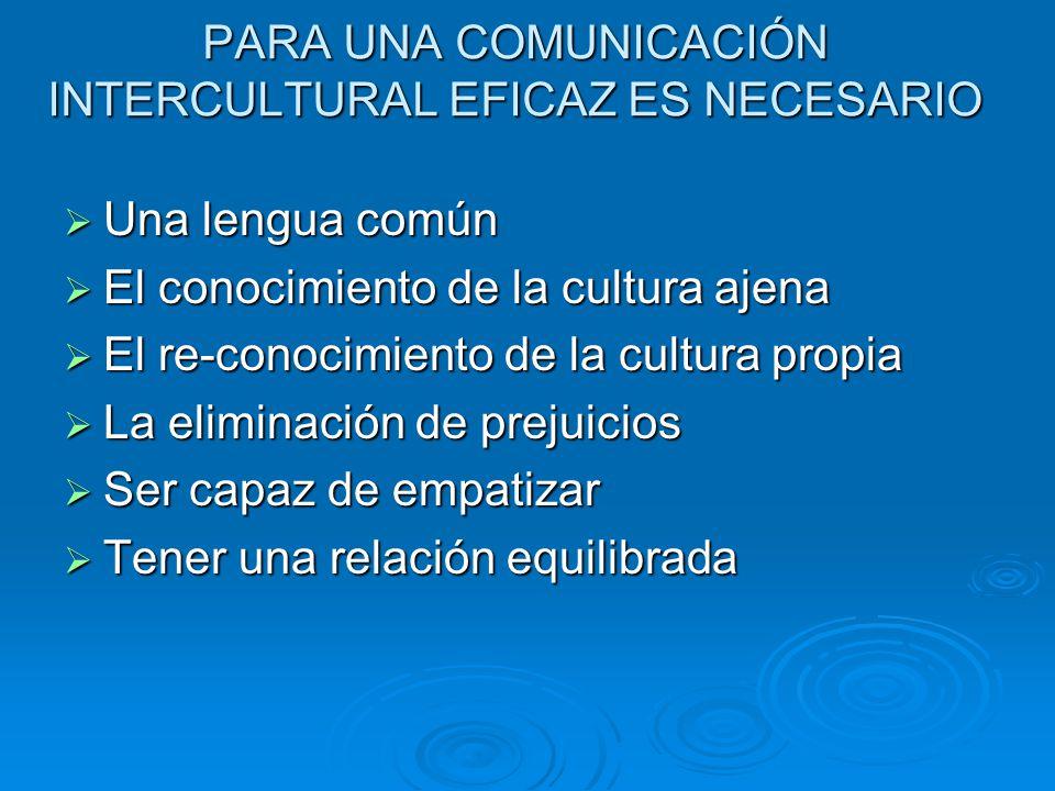 PARA UNA COMUNICACIÓN INTERCULTURAL EFICAZ ES NECESARIO