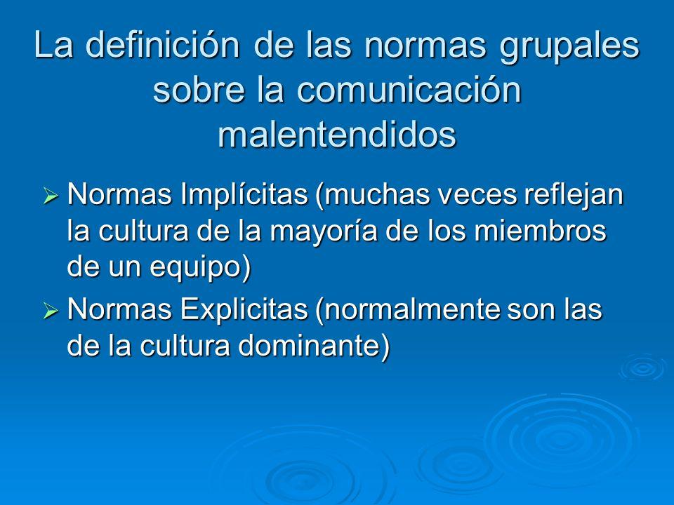 La definición de las normas grupales sobre la comunicación malentendidos