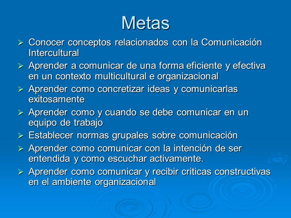 Metas Conocer conceptos relacionados con la Comunicación Intercultural