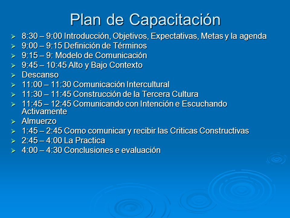 Plan de Capacitación 8:30 – 9:00 Introducción, Objetivos, Expectativas, Metas y la agenda. 9:00 – 9:15 Definición de Términos.
