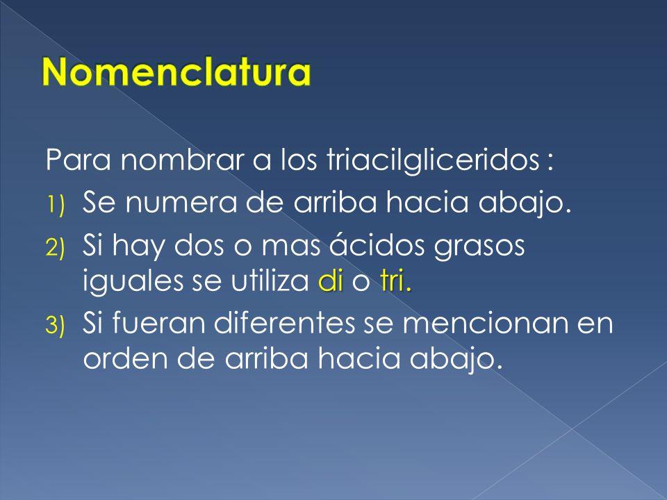 Nomenclatura Para nombrar a los triacilgliceridos :