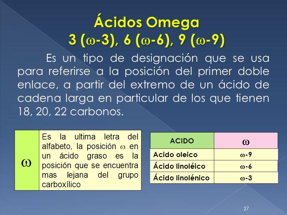 Ácidos Omega 3 (w-3), 6 (w-6), 9 (w-9)