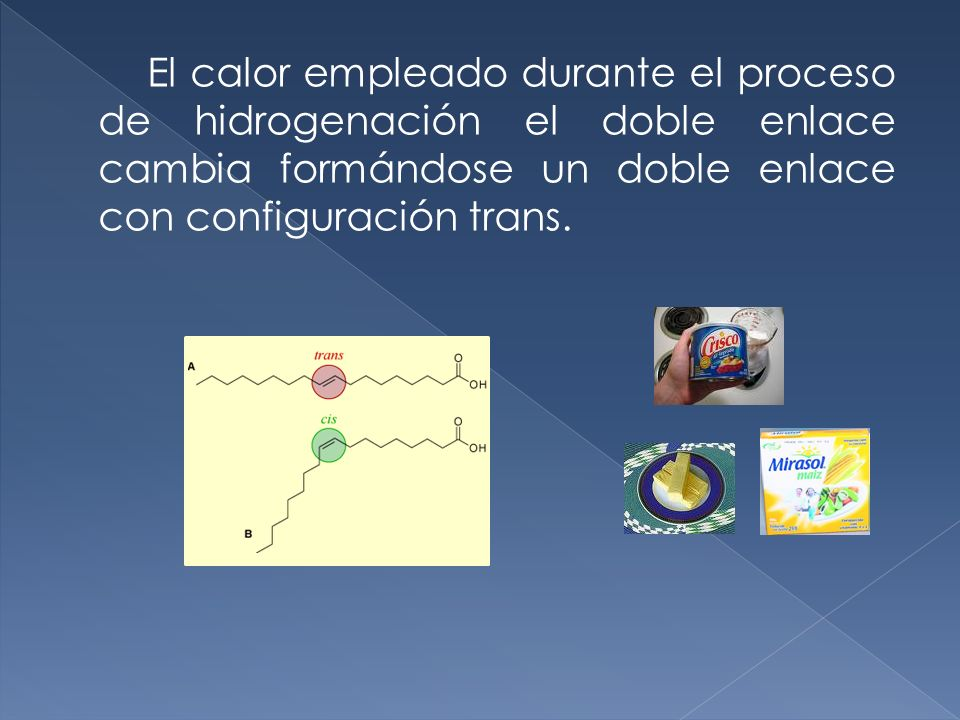 El calor empleado durante el proceso de hidrogenación el doble enlace cambia formándose un doble enlace con configuración trans.