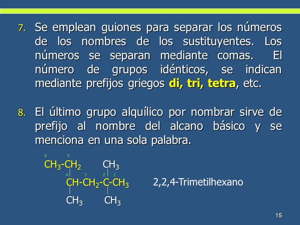 Se emplean guiones para separar los números de los nombres de los sustituyentes. Los números se separan mediante comas. El número de grupos idénticos, se indican mediante prefijos griegos di, tri, tetra, etc.