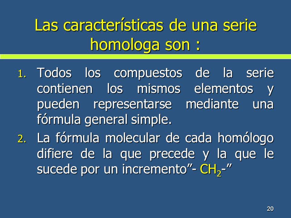 Las características de una serie homologa son :