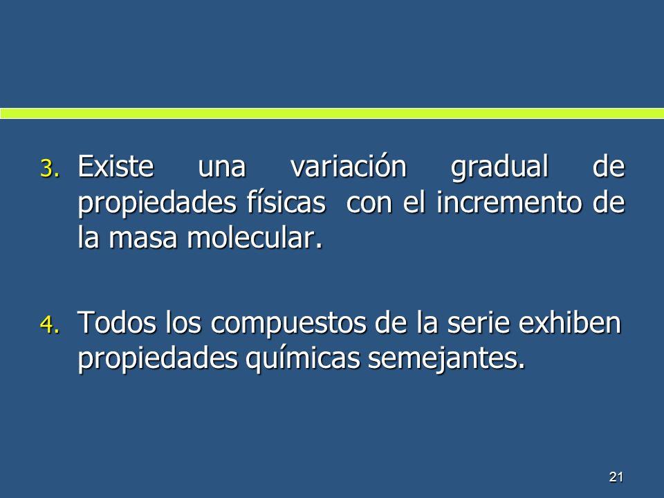 Existe una variación gradual de propiedades físicas con el incremento de la masa molecular.