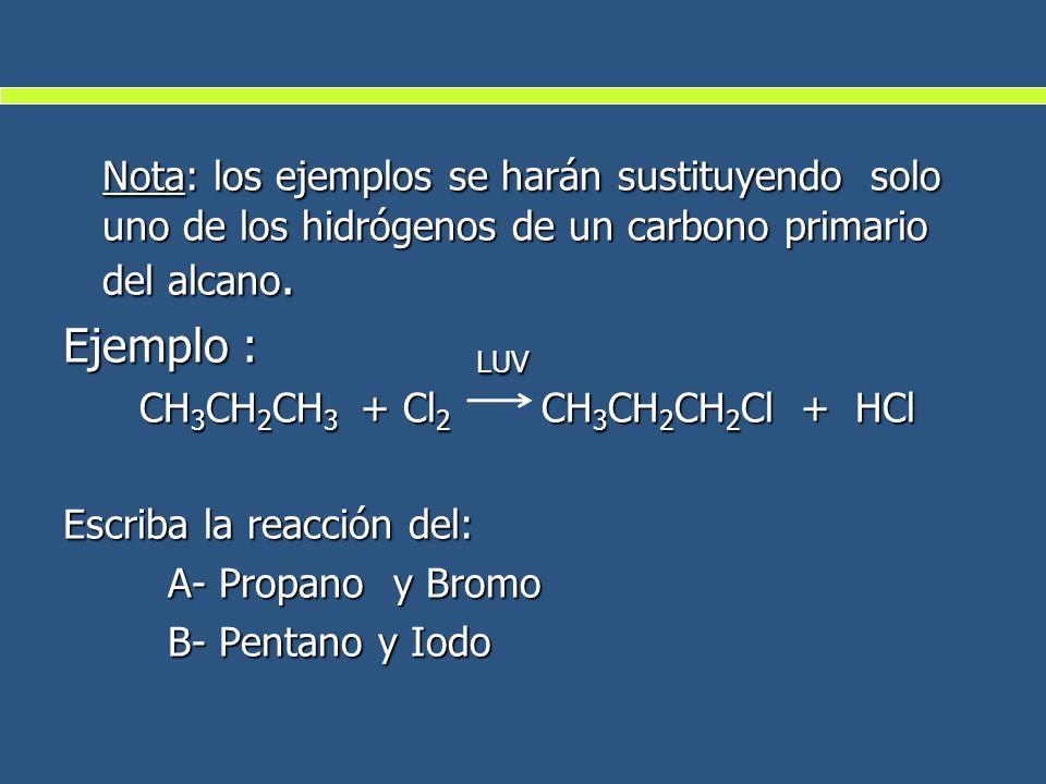 Nota: los ejemplos se harán sustituyendo solo uno de los hidrógenos de un carbono primario del alcano.