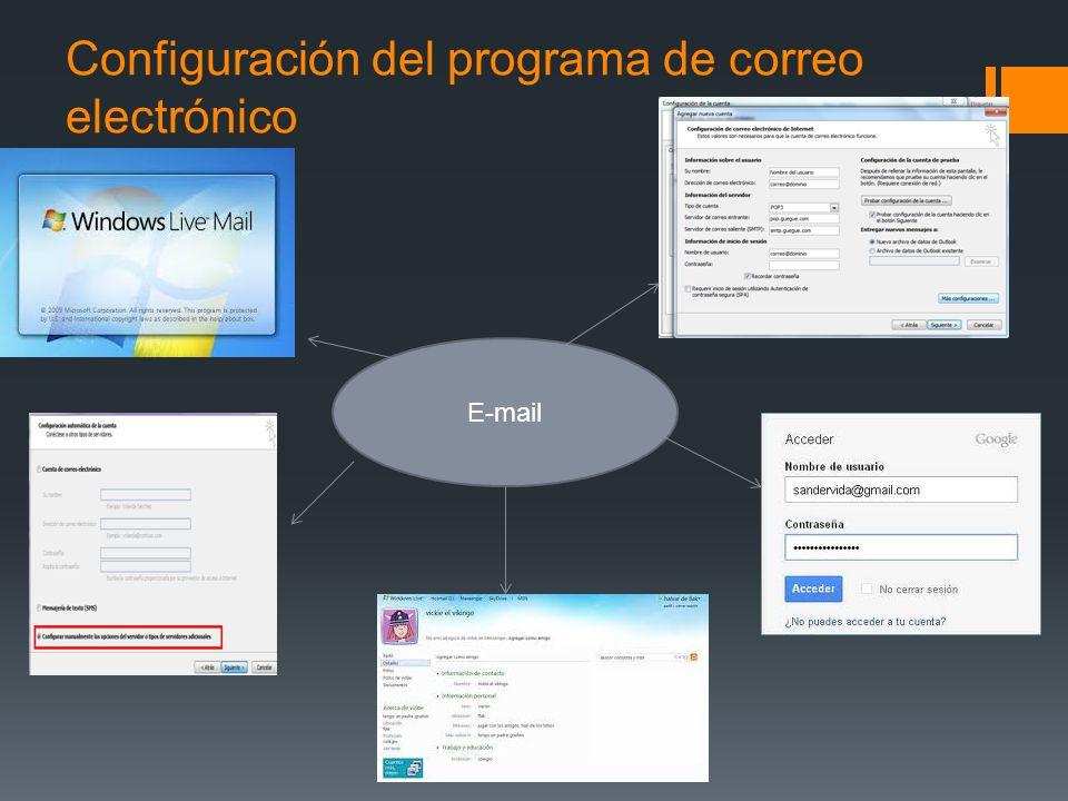 Configuración del programa de correo electrónico