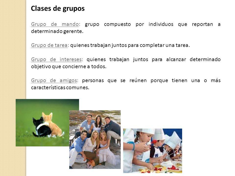 Clases de grupos Grupo de mando: grupo compuesto por individuos que reportan a determinado gerente.