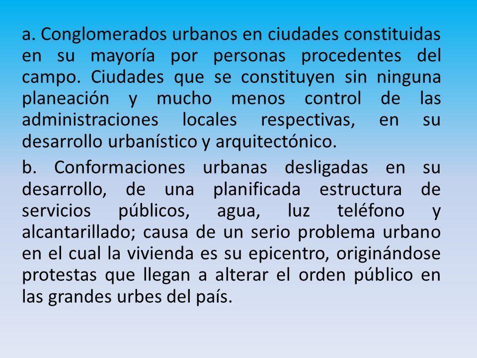 a. Conglomerados urbanos en ciudades constituidas en su mayoría por personas procedentes del campo.