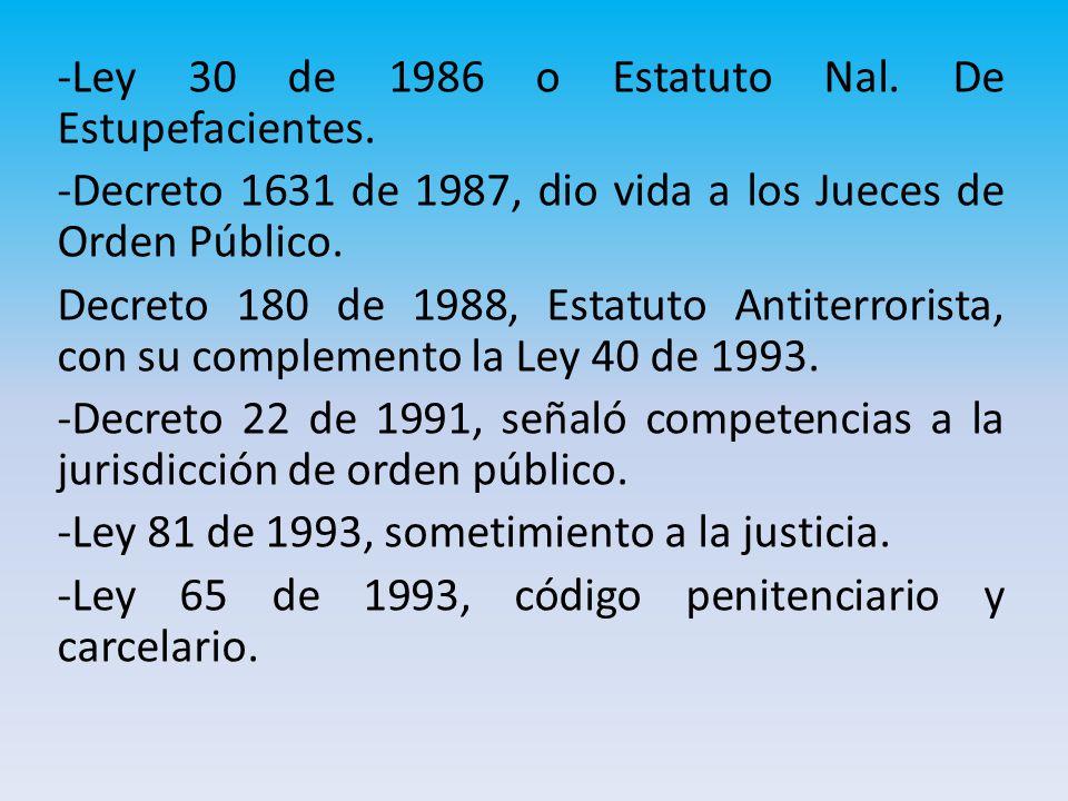 -Ley 30 de 1986 o Estatuto Nal. De Estupefacientes