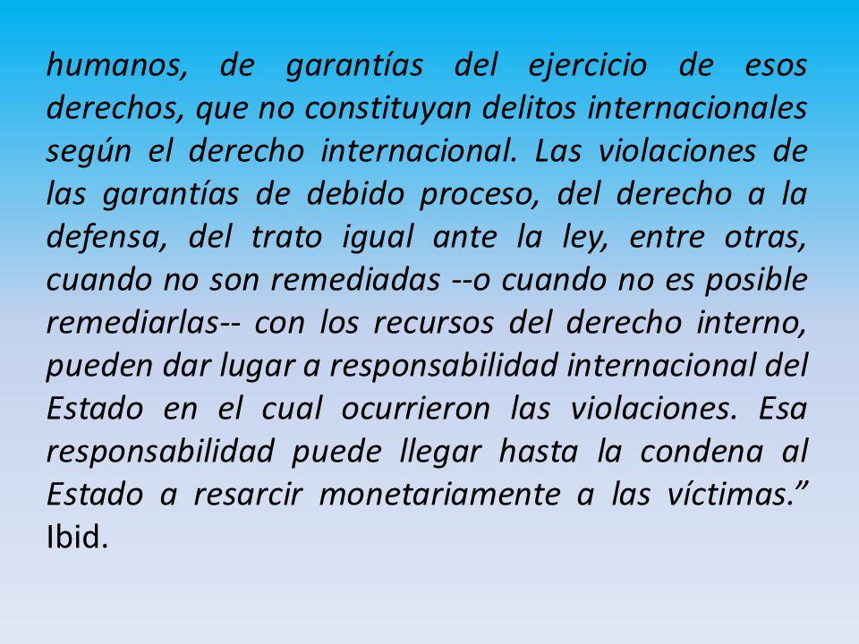 humanos, de garantías del ejercicio de esos derechos, que no constituyan delitos internacionales según el derecho internacional.