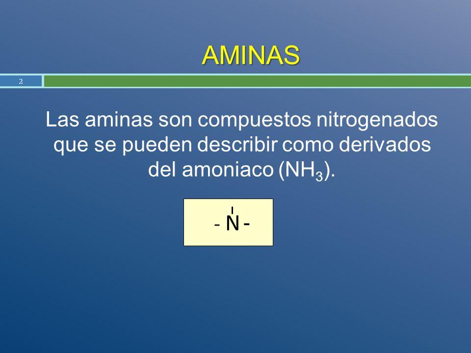 AMINAS Las aminas son compuestos nitrogenados que se pueden describir como derivados del amoniaco (NH3).