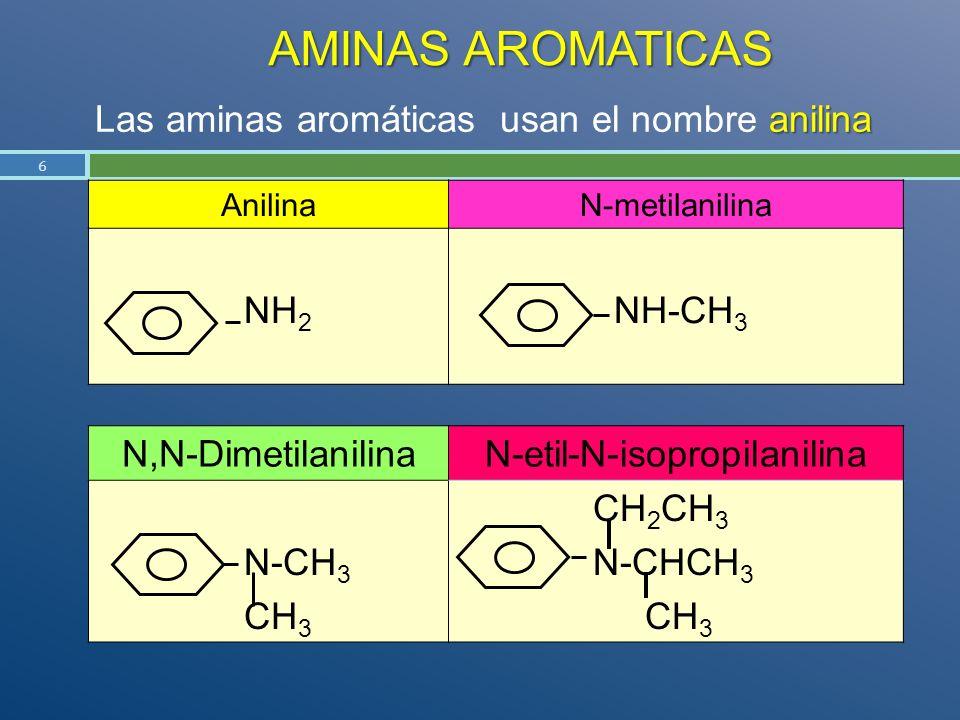 AMINAS AROMATICAS Las aminas aromáticas usan el nombre anilina NH2