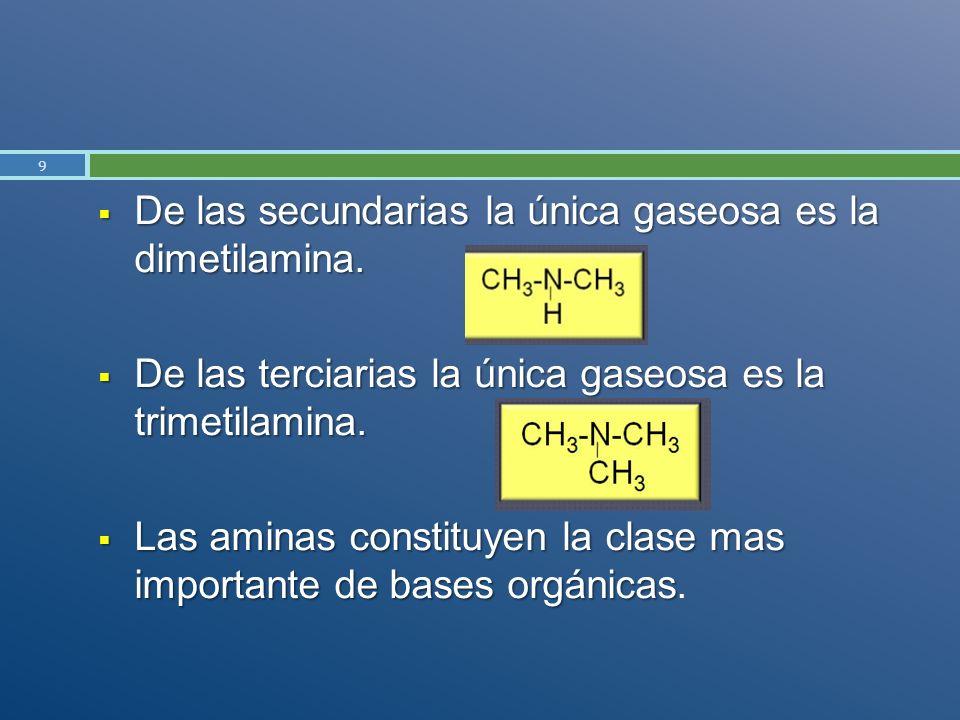De las secundarias la única gaseosa es la dimetilamina.