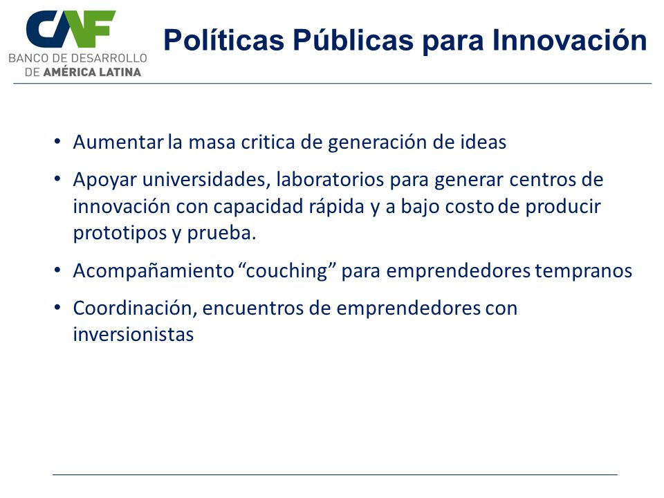 Políticas Públicas para Innovación