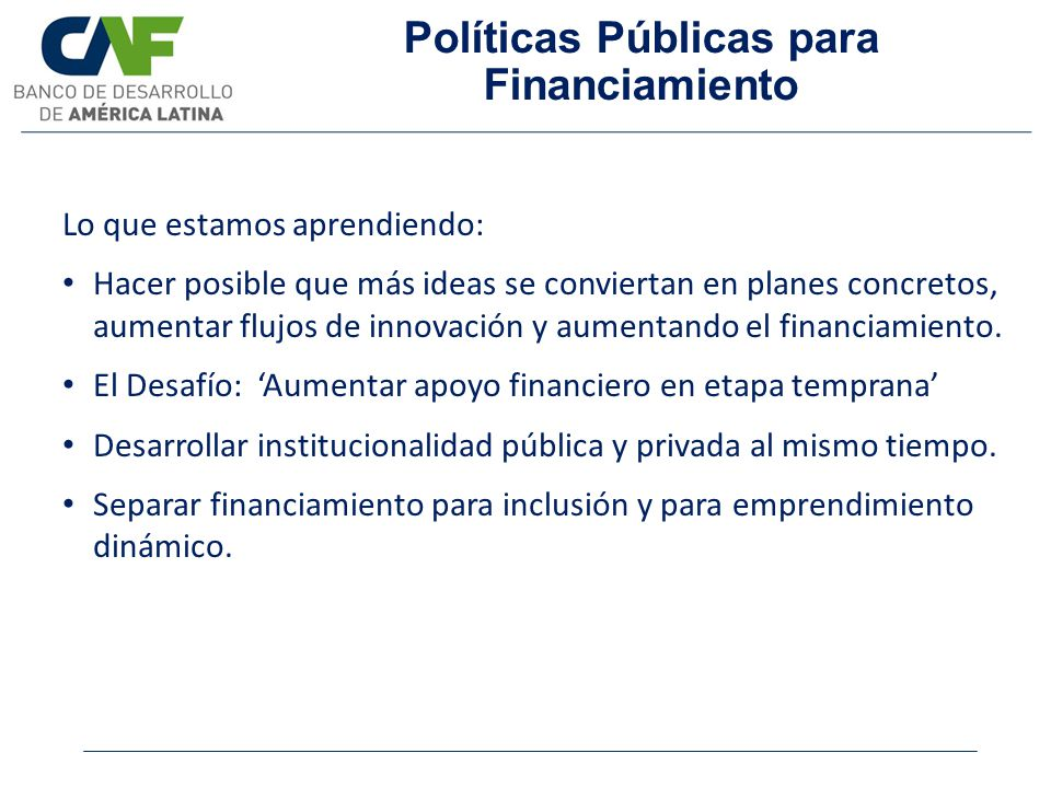 Políticas Públicas para Financiamiento