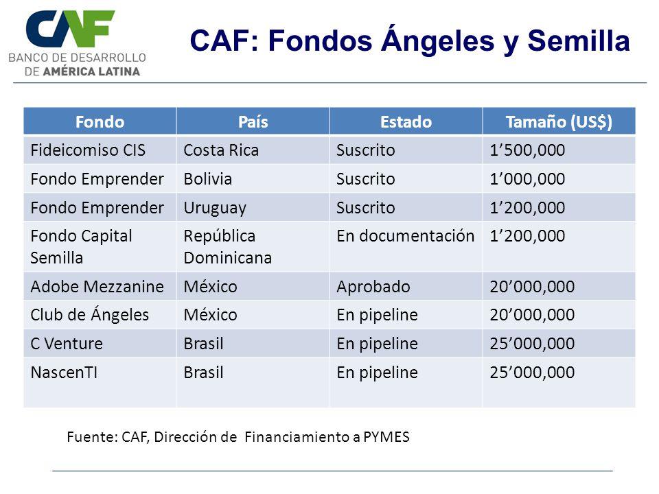 CAF: Fondos Ángeles y Semilla