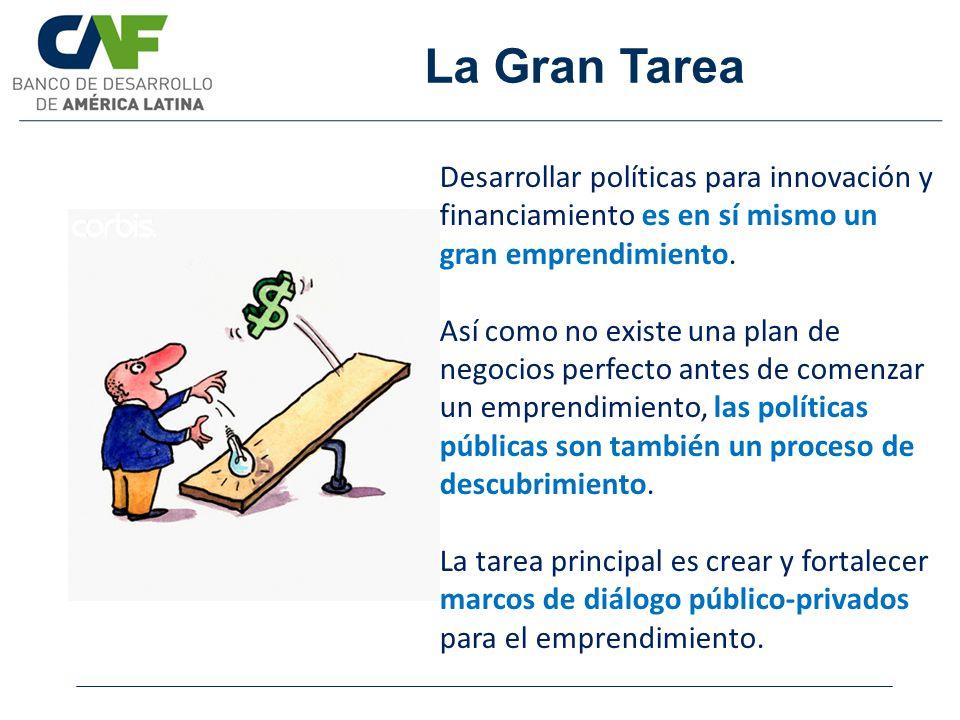 La Gran Tarea Desarrollar políticas para innovación y financiamiento es en sí mismo un gran emprendimiento.