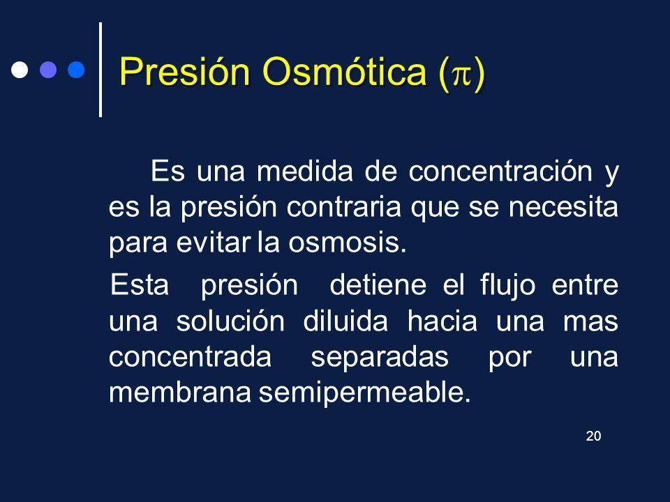 Presión Osmótica () Es una medida de concentración y es la presión contraria que se necesita para evitar la osmosis.