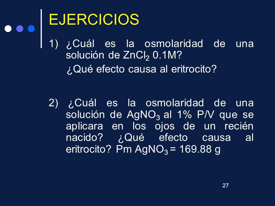 EJERCICIOS ¿Cuál es la osmolaridad de una solución de ZnCl2 0.1M