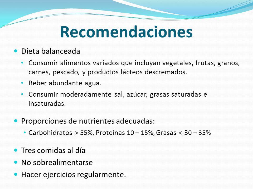 Recomendaciones Dieta balanceada Proporciones de nutrientes adecuadas: