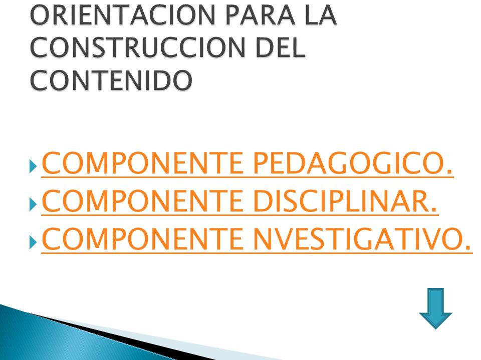 ORIENTACION PARA LA CONSTRUCCION DEL CONTENIDO