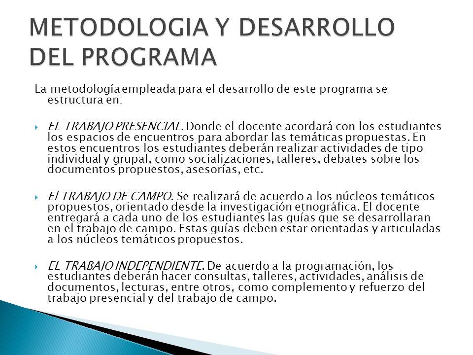 METODOLOGIA Y DESARROLLO DEL PROGRAMA