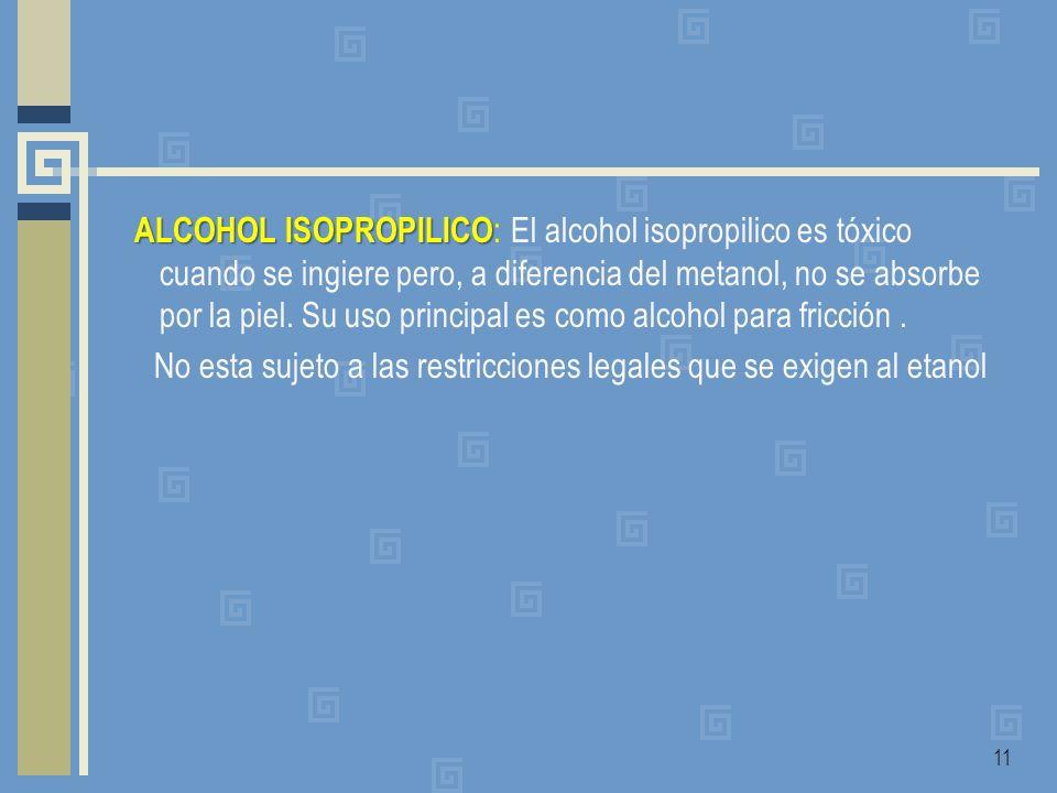 ALCOHOL ISOPROPILICO: El alcohol isopropilico es tóxico cuando se ingiere pero, a diferencia del metanol, no se absorbe por la piel.