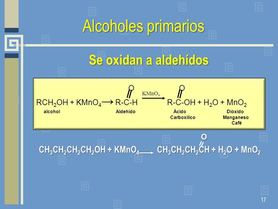 Alcoholes primarios Se oxidan a aldehídos O O