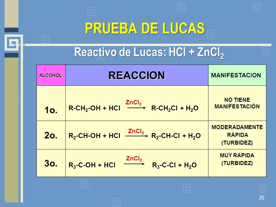 Reactivo de Lucas: HCl + ZnCl2 NO TIENE MANIFESTACIÓN