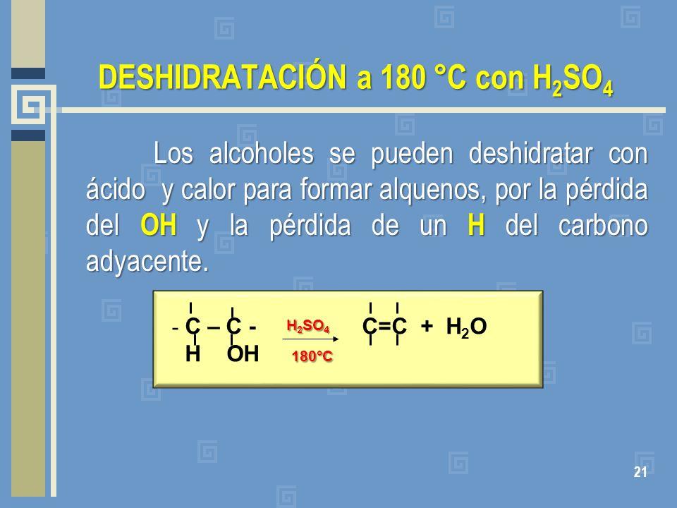 DESHIDRATACIÓN a 180 °C con H2SO4