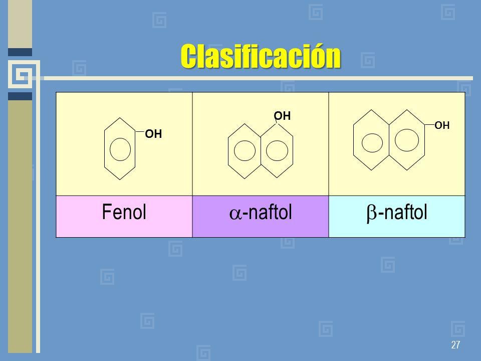 Clasificación Fenol -naftol -naftol OH OH OH
