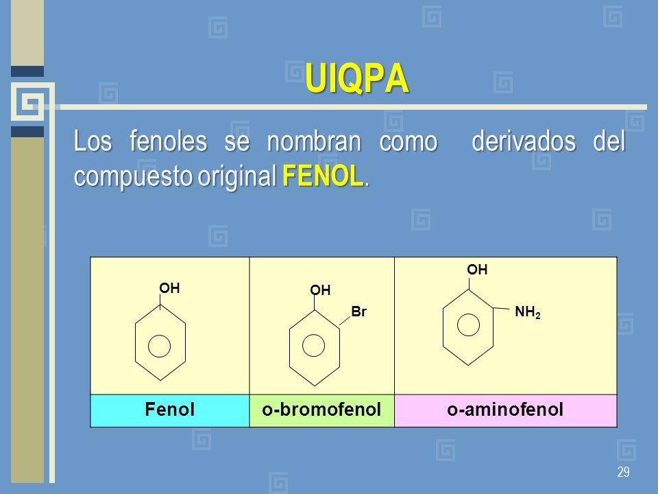 UIQPALos fenoles se nombran como derivados del compuesto original FENOL. OH. Br. NH2. Fenol. o-bromofenol.