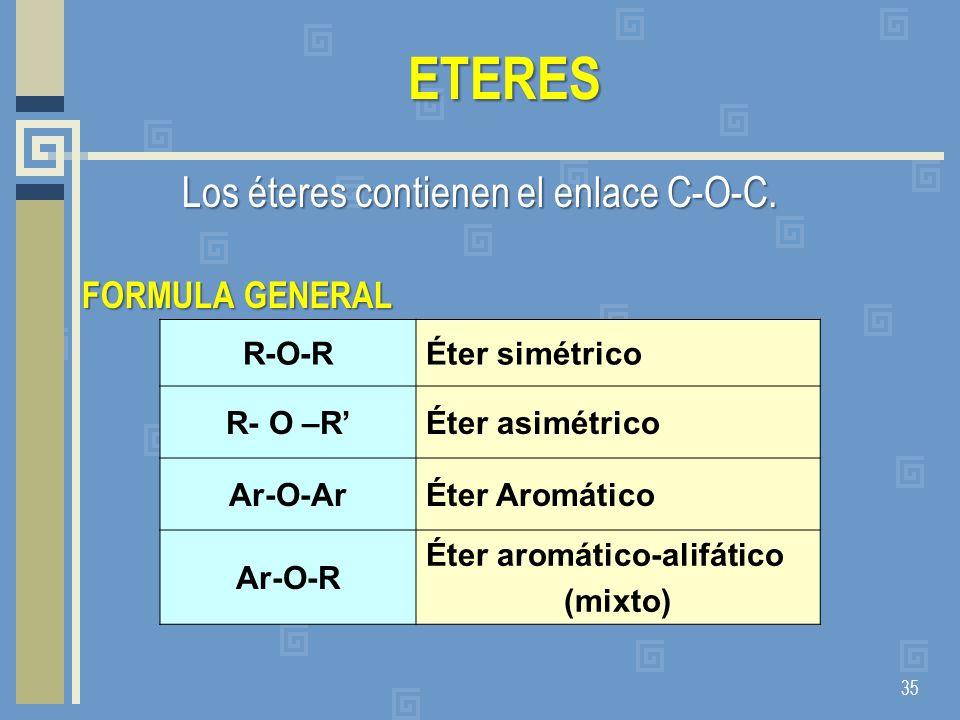 Los éteres contienen el enlace C-O-C.