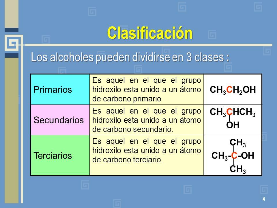 Clasificación Los alcoholes pueden dividirse en 3 clases : Primarios