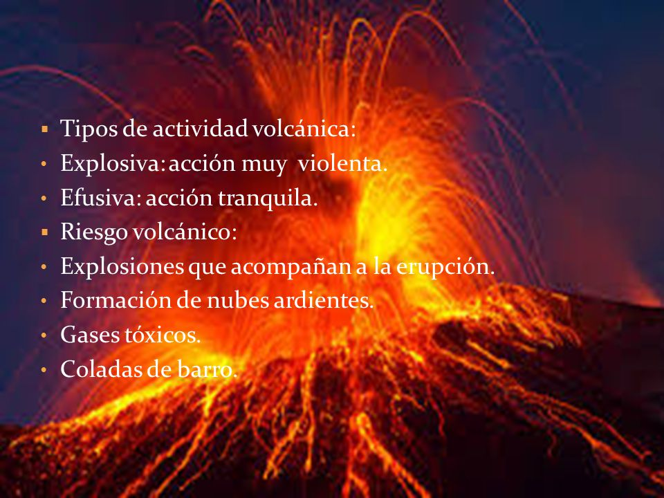 Tipos de actividad volcánica: