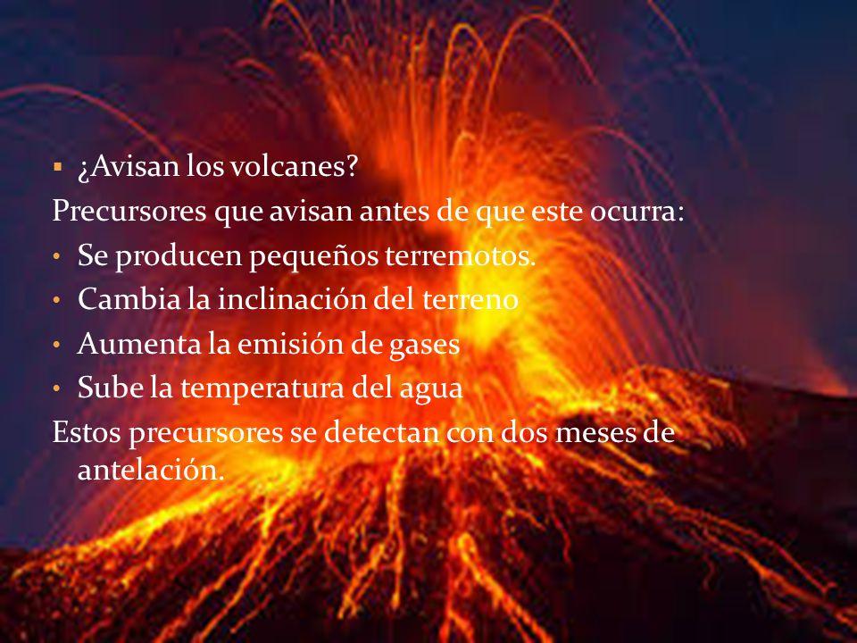 ¿Avisan los volcanes Precursores que avisan antes de que este ocurra: Se producen pequeños terremotos.
