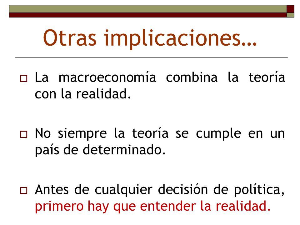 Otras implicaciones… La macroeconomía combina la teoría con la realidad. No siempre la teoría se cumple en un país de determinado.