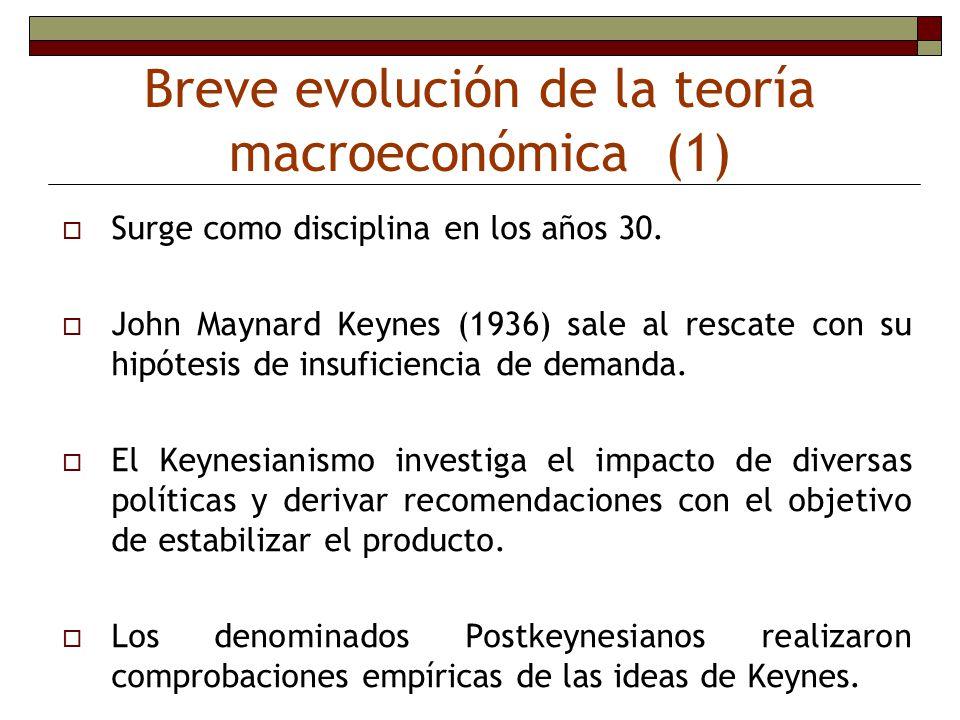 Breve evolución de la teoría macroeconómica (1)