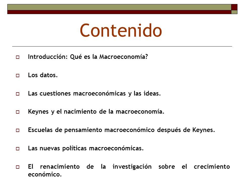 Contenido Introducción: Qué es la Macroeconomía Los datos.