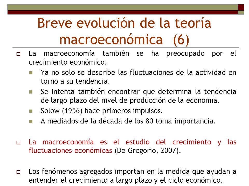 Breve evolución de la teoría macroeconómica (6)