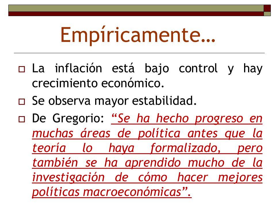 Empíricamente… La inflación está bajo control y hay crecimiento económico. Se observa mayor estabilidad.