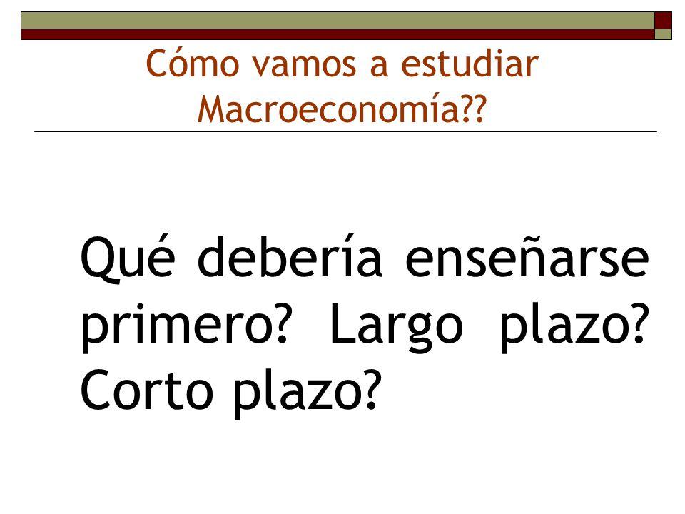Cómo vamos a estudiar Macroeconomía
