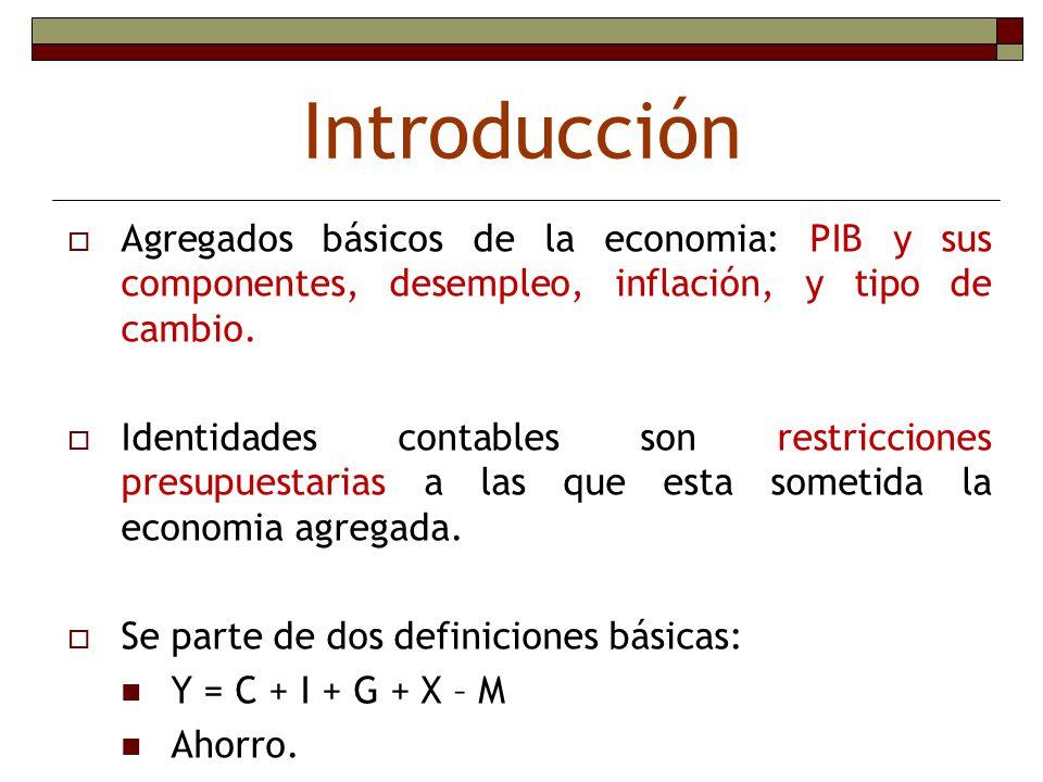 Introducción Agregados básicos de la economia: PIB y sus componentes, desempleo, inflación, y tipo de cambio.