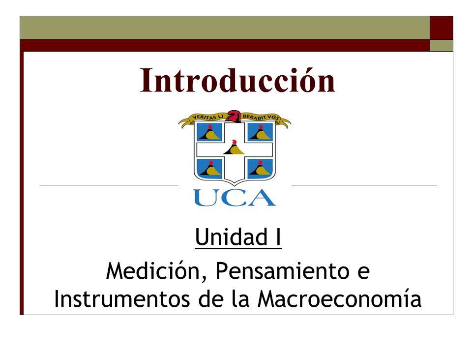 Unidad I Medición, Pensamiento e Instrumentos de la Macroeconomía