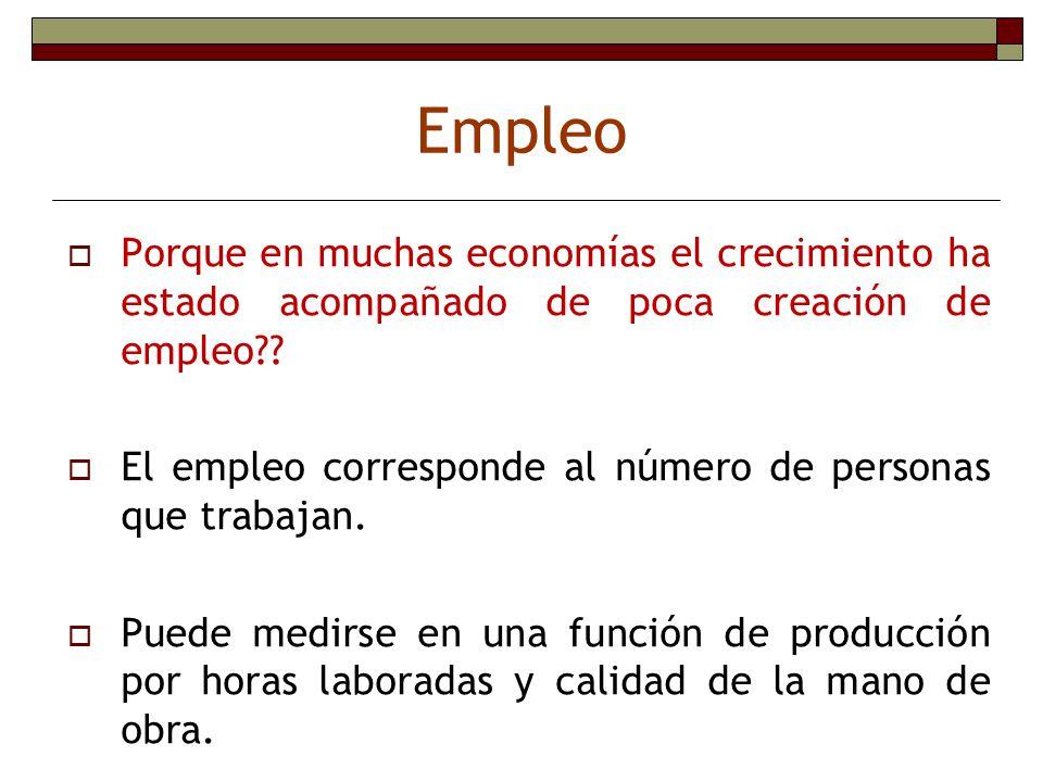 Empleo Porque en muchas economías el crecimiento ha estado acompañado de poca creación de empleo