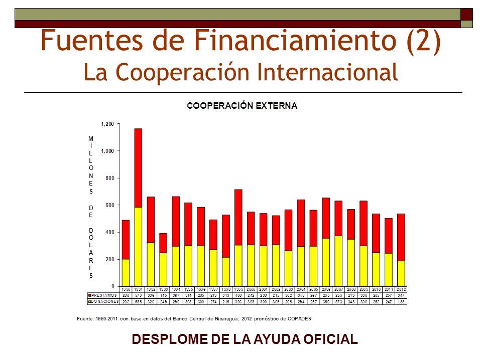 Fuentes de Financiamiento (2) La Cooperación Internacional