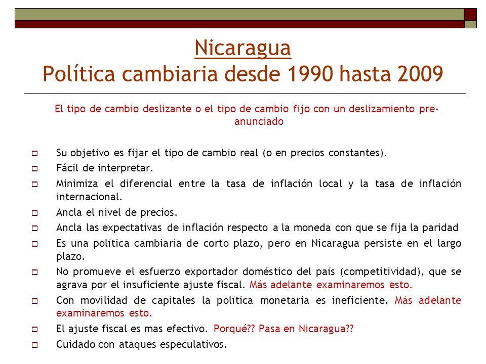 Nicaragua Política cambiaria desde 1990 hasta 2009